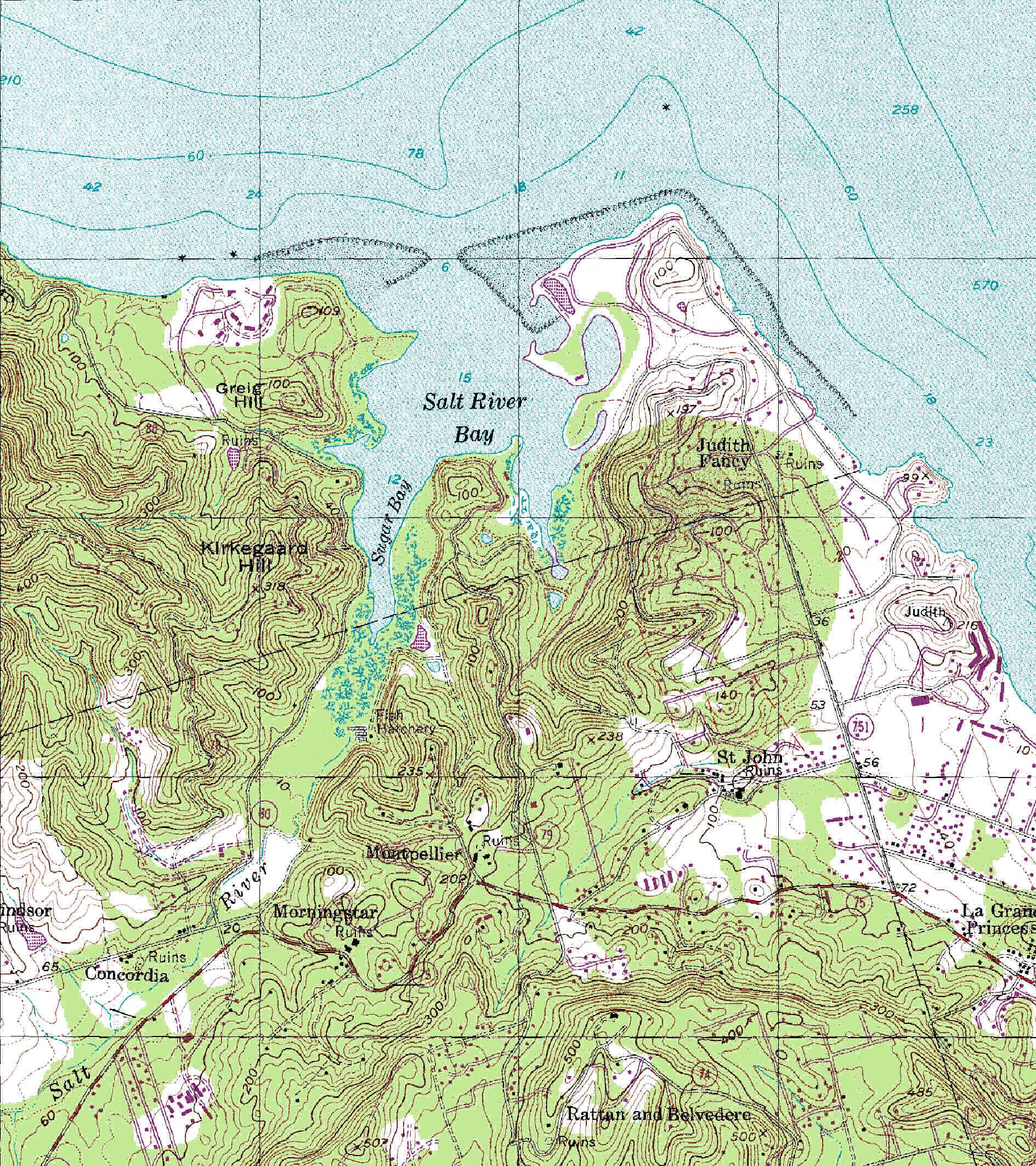 Salt River Bay Topografisk Kort